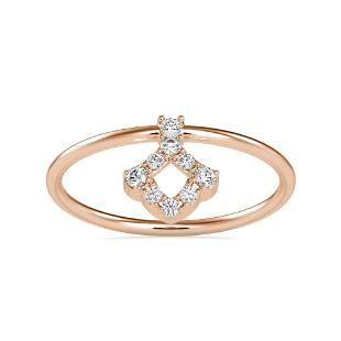 0.10CT Natural Diamond 14K Rose Gold Ring