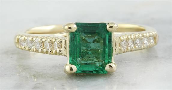 1.63 CTW Emerald 14K Yellow Gold Diamond Ring