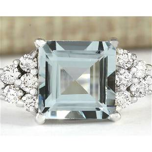 3.40 CTW Natural Aquamarine And Diamond Ring In 18K