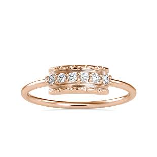 0.08CT Natural Diamond 14K Rose Gold Ring
