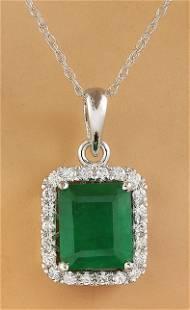 3.73 CTW Emerald 14K White Diamond Necklace