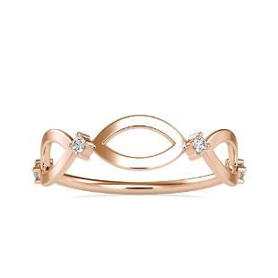 0.05CT Natural Diamond 14K Rose Gold Ring