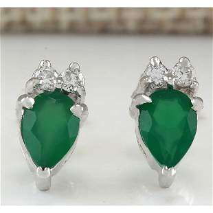 1.19 CTW Natural Emerald And Diamond Earrings 18K Solid