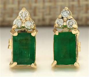 1.60 CTW Natural Emerald And Diamond Earrings 18K Solid