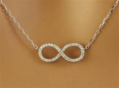 0.30 CTW Diamond 14K White Gold Infinty Necklace
