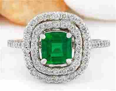 2.10 CTW Natural Emerald 14K Solid White Gold Diamond