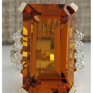 19.30 CTW Natural Madeira Citrine And Diamond Ring 14K