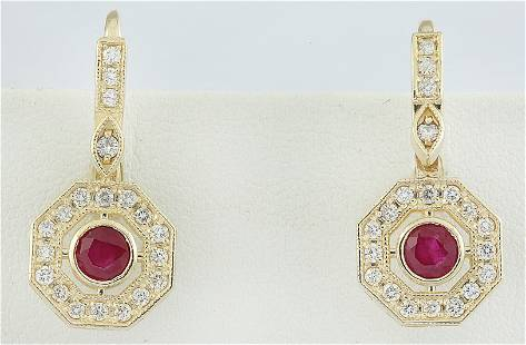 1.60 CTW Ruby 18K Yellow Gold Diamond Errings