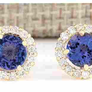 2.65 CTW Natural Blue Tanzanite And Diamond Earrings