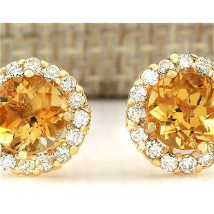 3.65 CTW Natural Citrine And Diamond Earrings 18K Solid