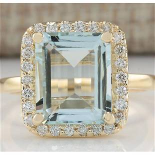 4.30 CTW Natural Blue Aquamarine And Diamond Ring In