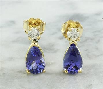 2.25 CTW Tanzanite 18K Yellow Gold Diamond Earrings