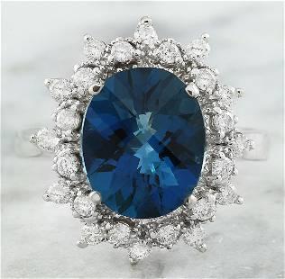 4.35 CTW Topaz 14K White Gold Diamond Ring