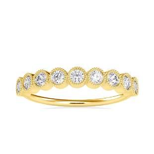 0.47CT Natural Diamond 14K Yellow Gold Ring