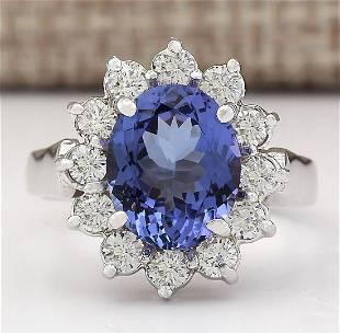 3.65 CTW Natural Blue Tanzanite And Diamond Ring 18K