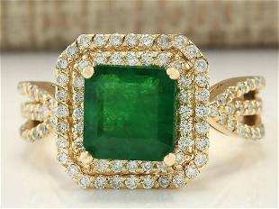 3.13 CTW Natural Emerald And Diamond Ring In 14k Yellow