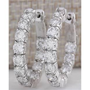 3.41CTW Natural Diamond Hoop Earrings 18K Solid White