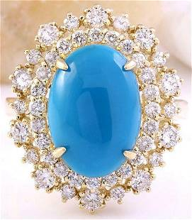 7.10 CTW Natural Turquoise 18K Solid Yellow Gold