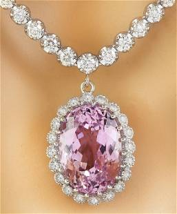 23.81 CTW Kunzite 14K White Gold Diamond Necklace