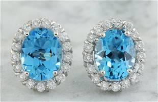 4.86 CTW Topaz 14K White Gold Diamond Earrings