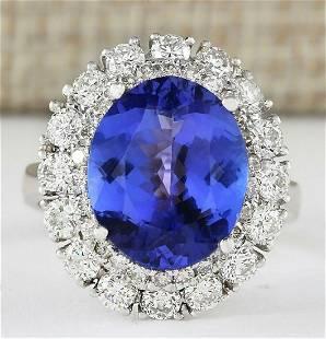 7.38 CTW Natural Blue Tanzanite And Diamond Ring 18K
