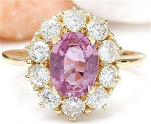 2.86 CTW Natural Sapphire 18K Solid Yellow Gold Diamond