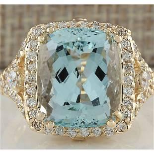 9.03 CTW Natural Blue Aquamarine And Diamond Ring 18K
