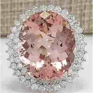 31.81 CTW Natural Peach Morganite And Diamond Ring In