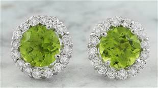 3.65 CTW Peridot 18K White Gold Diamond Earrings