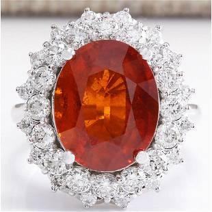 12.03 CTW Natural Mandarin Garnet And Diamond Ring 14K