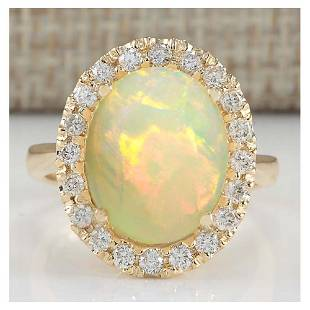 4.90 CTW Natural Opal And Diamond Ring In 18K Yellow