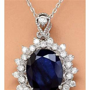 5.25 CTW Natural Sapphire 18K Solid White Gold Diamond