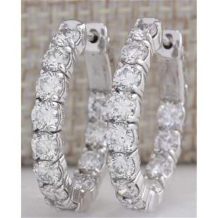 3.51CTW Natural Diamond Hoop Earrings 18K Solid White