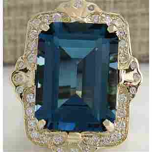 19.53 CTW Natural London Blue Topaz And Diamond Ring