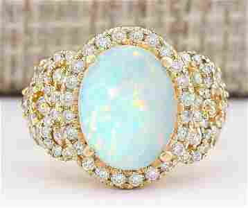 4.86 CTW Natural Opal And Diamond Ring In 18K Yellow