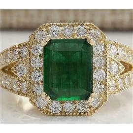 3.29 CTW Natural Emerald And Diamond Ring 18K Solid