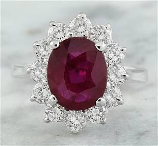 3.35 CTW Ruby 14K White Gold Diamond Ring