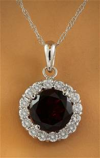 1.82 CTW Garnet 18K White Gold Diamond Necklace