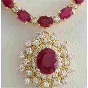 40.45 CTW Natural Ruby And Diamond Necklace In 14K