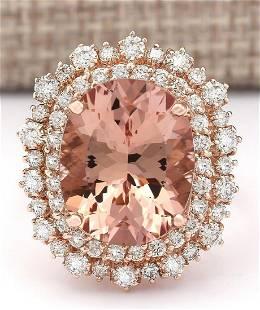 11.24 CTW Natural Morganite And Diamond Ring In 18K