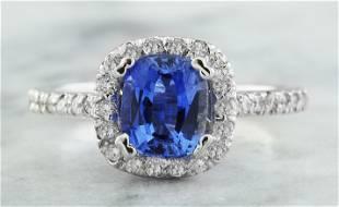 2.25 CTW Sapphire 14K White Gold Diamond Ring
