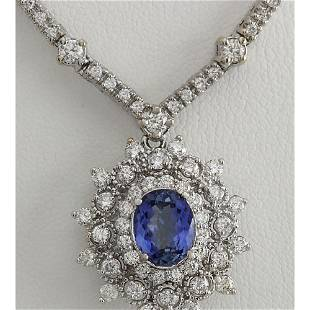 6.00 CTW Natural Tanzanite And Diamond Necklace In 14K