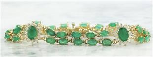 12.50 CTW Emerald 14K Yellow Gold Diamond Bracelet