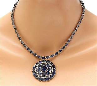 49.88 CTW Natural Sapphire 14K Solid White Gold Diamond