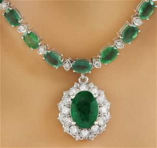 27.16 CTW Emerald 14K Yellow Gold Diamond Necklace
