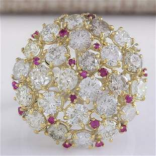 5.42 CTW Natural Red Ruby Diamond Ring 18K Solid White