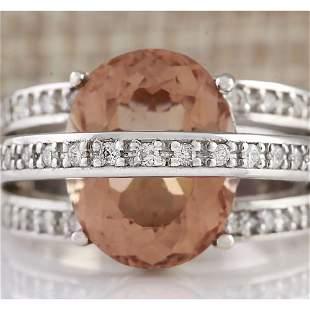 8.05 CTW Natural Morganite And Diamond Ring 14k Solid