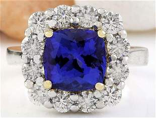 5.98 CTW Natural Tanzanite 18K Solid Two Tone Gold