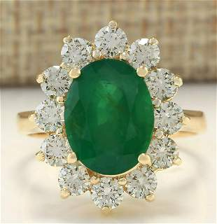 4.75 CTW Natural Emerald And Diamond Ring In 14K Yellow