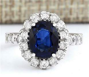 3.35 CTW Natural Blue Sapphire And Diamond Ring In 18K